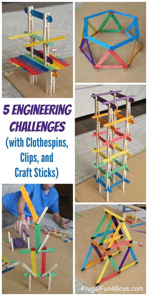 engineering challenges  clothespins binder clips  craft sticks craft sticks binder