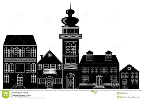 Tudor Style Wallpaper black and white silhouette of the historic town stock