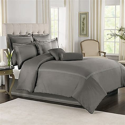 wamsutta 174 baratta stitch comforter set in grey bed bath