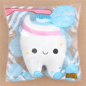 Cute white tooth with pink white blue toothpaste squishy by cutie