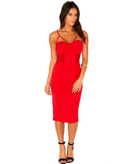 Talita Dress 1 missguided talita mesh panel bustier midi dress in scarlet in scarlet lyst