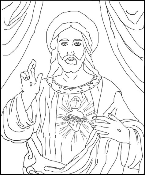 sacred heart of jesus free coloring page jesus heart
