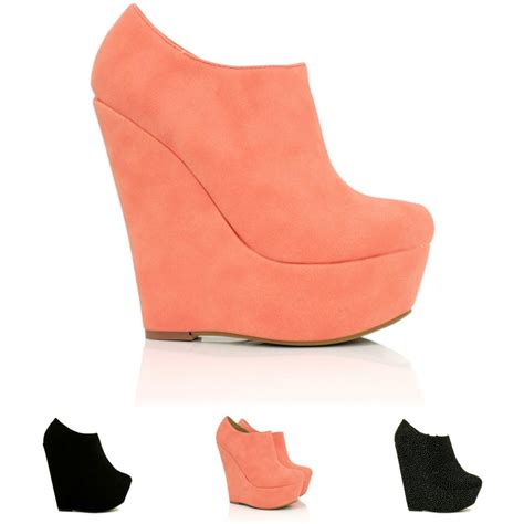 new womens wedge heel platform ankle boots size ebay