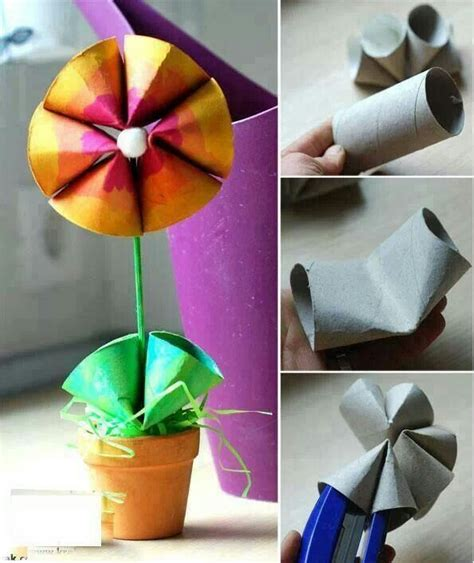 Recycle Toilet Paper Rolls Crafts - children s craft recycle toilet roll flower papercraft
