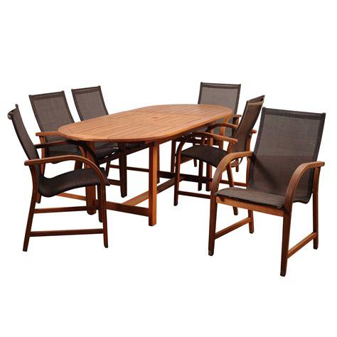 international home amazonia hallie rectangular dining set 7 international home miami amazonia bahamas 7 eucalyptus extendable rectangular dining set