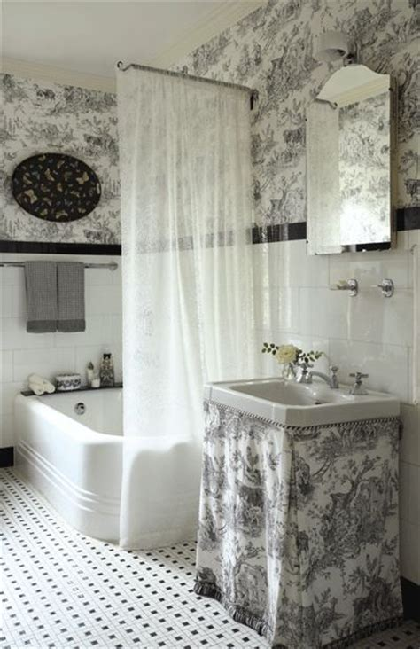 black and white toile wallpaper bathroom toile bathroom google search toile bathroom
