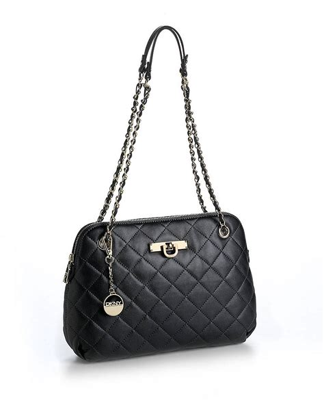 Black Leather Quilted Handbag by Dkny Quilted Leather Bag In Black Lyst