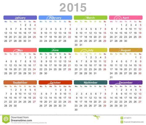Calendrier Lundi Calendrier Annuel De 2015 Ans Lundi D Abord Anglais