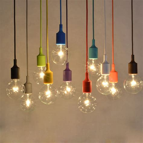 colorful e27 silicone rubber pendant light l holder