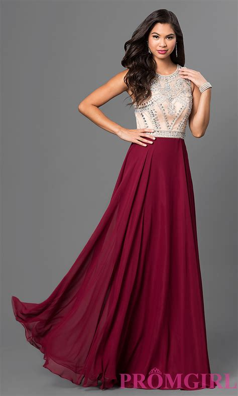 image of burgundy prom dress with beaded bodice