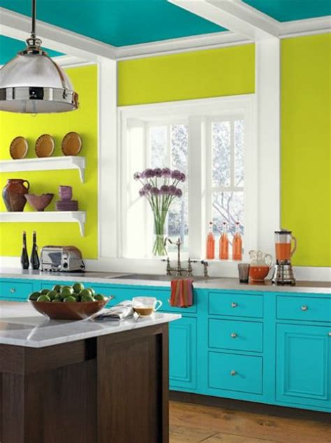 eccentric lime walls tropical teal ceiling cloud cover trim and cool aqua cabinets paint