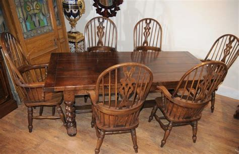 Farmhouse Kitchen Table Sets Farmhouse Refectory Table Set Arm Chairs Kitchen