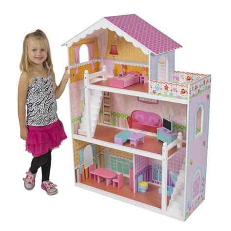 tall doll houses best choice products 174 children s wooden dollhouse big wood doll house pink fashion