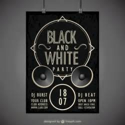 black and white party poster vector free download