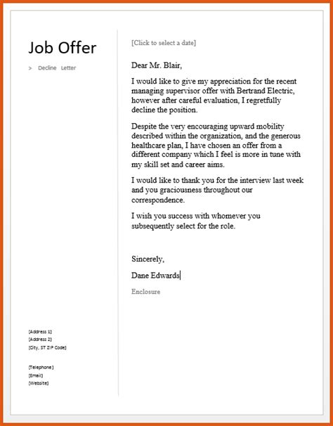 Offer Letter Rejection Due To Salary letter decline offer due salary 28 images 5 decline