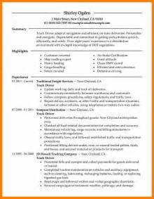 Trucking Resume by Truck Driver Resume Sles