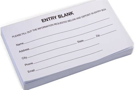 entry forms blank pads  sheets