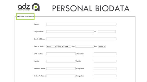 how to make biodata for portfolio