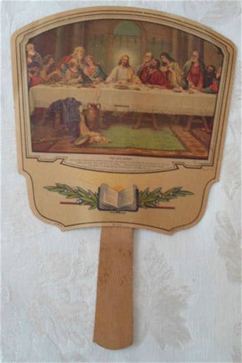 hand held fans for church vintage paper hand held church quot the last supper quot fan