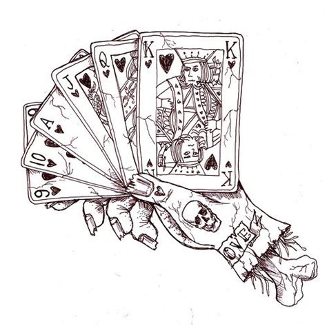 playing cards tattoo designs card pencil and in color card