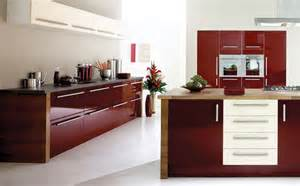 modern kitchen with maroon color d s furniture
