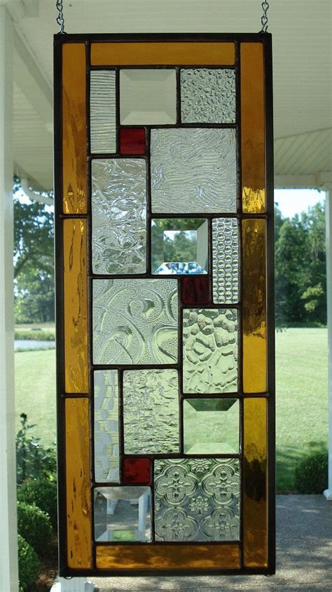 Beveled Glass Door Panels Stained Glass Window Panel With Ambers Reds Window Panels Glasses And Window