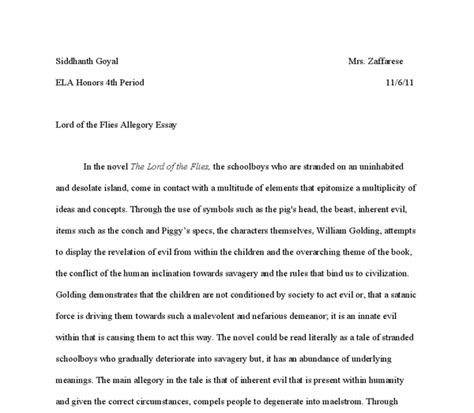 Lord Of The Flies Essay by Lord Of The Flies Allegory Essay International Baccalaureate World Literature Marked By