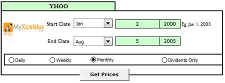 download yahoo finance data into excel output set of stock prices
