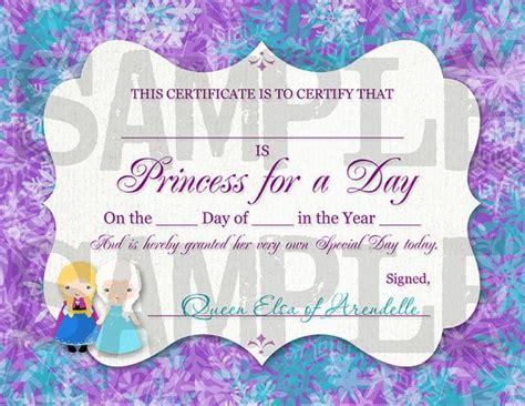 princess certificate template frozen birthday princess for a day certificate printable