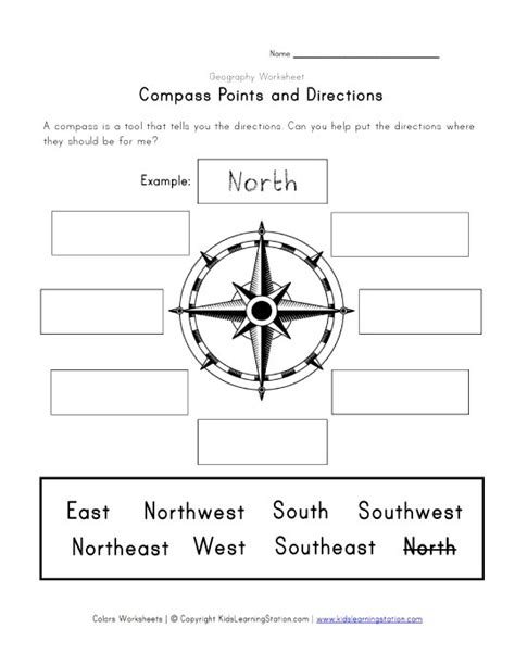 printable compass directions compass points and directions worksheet