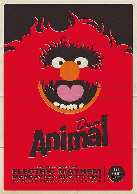 Drum Animal Concert drums animal poster michael de pippo vintage inspired