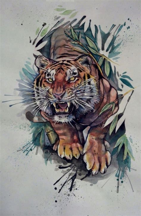 watercolor tiger tattoo watercolor tattoos i want tiger tattoos