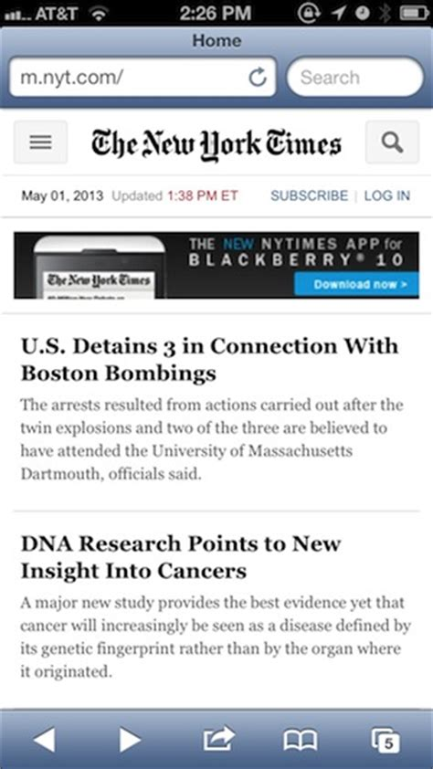 mobile nytimes the new york times launched a reved mobile site today