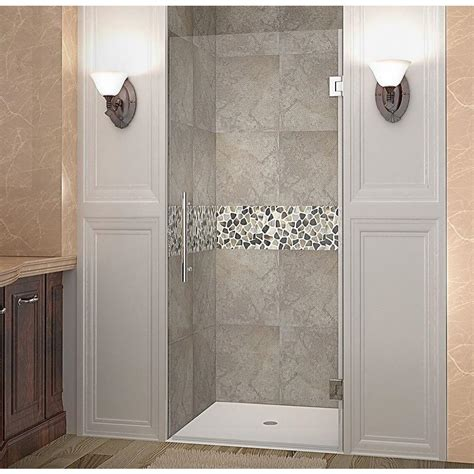 Hinged Glass Shower Door Aston Cascadia 34 In X 72 In Completely Frameless Hinged Shower Door In Stainless Steel With