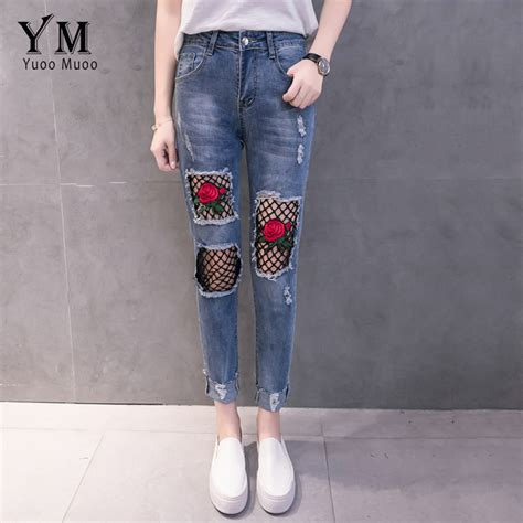 embroidery design jeans yuoomuoo new hole ripped jeans for women fashion net