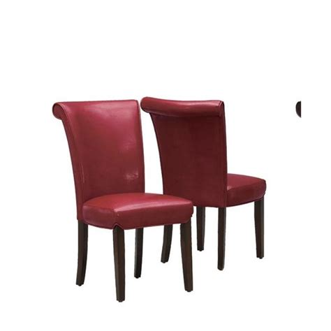 Burgundy Leather Dining Chairs Faux Leather Dining Chair In Burgundy Set Of 2 I1667by