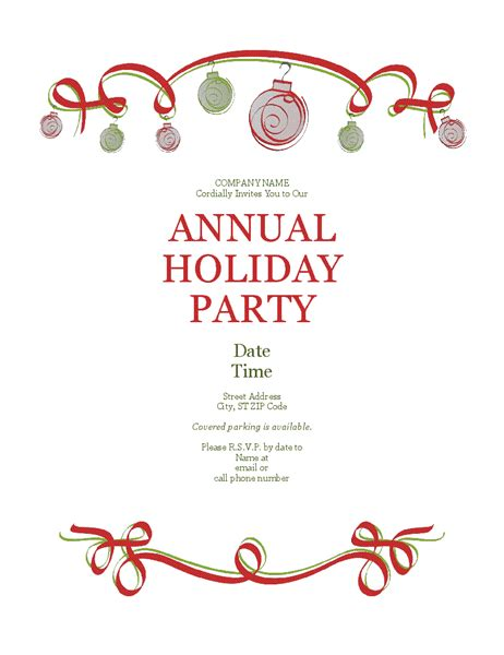 christmas invite wording for the office template invitation with ornaments and ribbon formal design