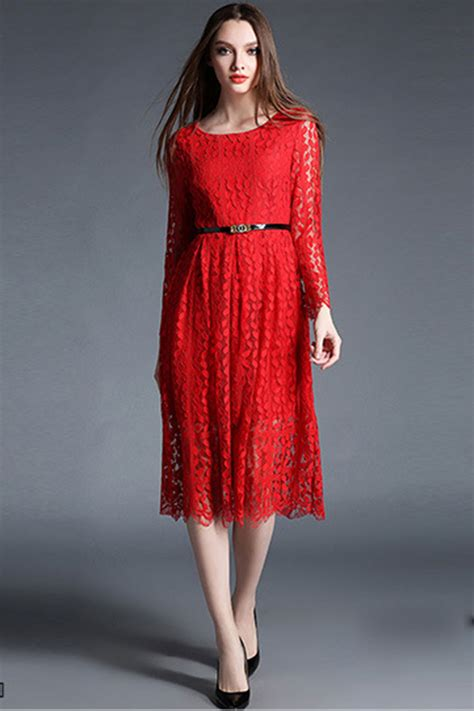 Sleeve Lace A Line Dress unomatch sleeves knee length lace a line dress