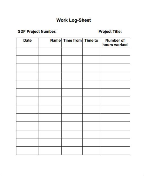 daily work log book template work log template 7 free word excel pdf documents