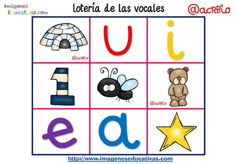 imagenes educativas las vocales loter 237 a bingo de las vocales 5 imagenes educativas
