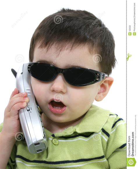 Or The Phone Boy In Sunglasses Speaking On The Phone White Stock Photography Image 122532