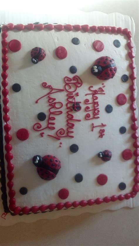 sheet cake   wal mart lady bug  birthday party pinterest cakes  sheet cakes