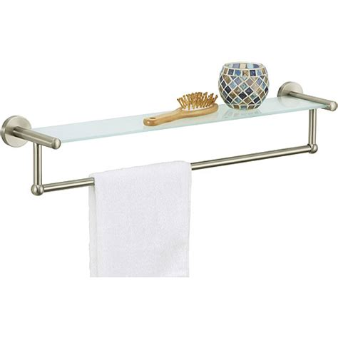 Towel Bar Shelf by Satin Nickel Glass Shelf With Towel Bar Walmart