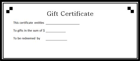 word template for gift certificate gift certificate template