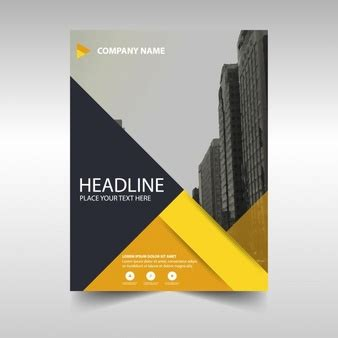 yellow business brochure template with geometric shapes design vectors photos and psd files free download
