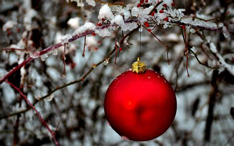 red christmas ornaments in snow wallpaper