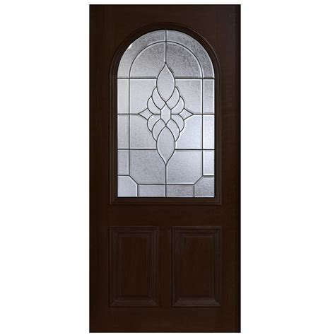 Solid Wood Front Doors With Glass Door 36 In X 80 In Mahogany Type Top Glass Prefinished Espresso Beveled Patina