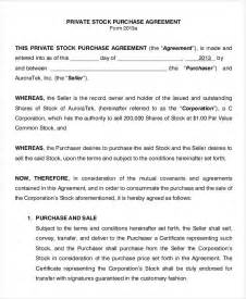 stock purchase agreement template 11 stock purchase agreement form sles free sle