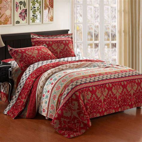 blue bohemian bedding coral red white and blue wide stripe and antique indian