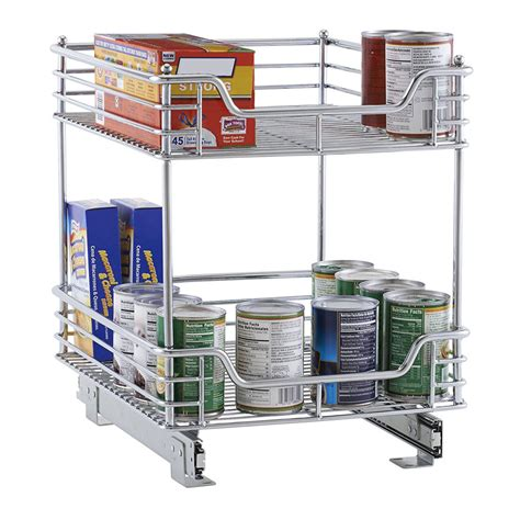 Slide Out Cabinet Baskets by Two Tier Chrome Slide Out Cabinet Basket